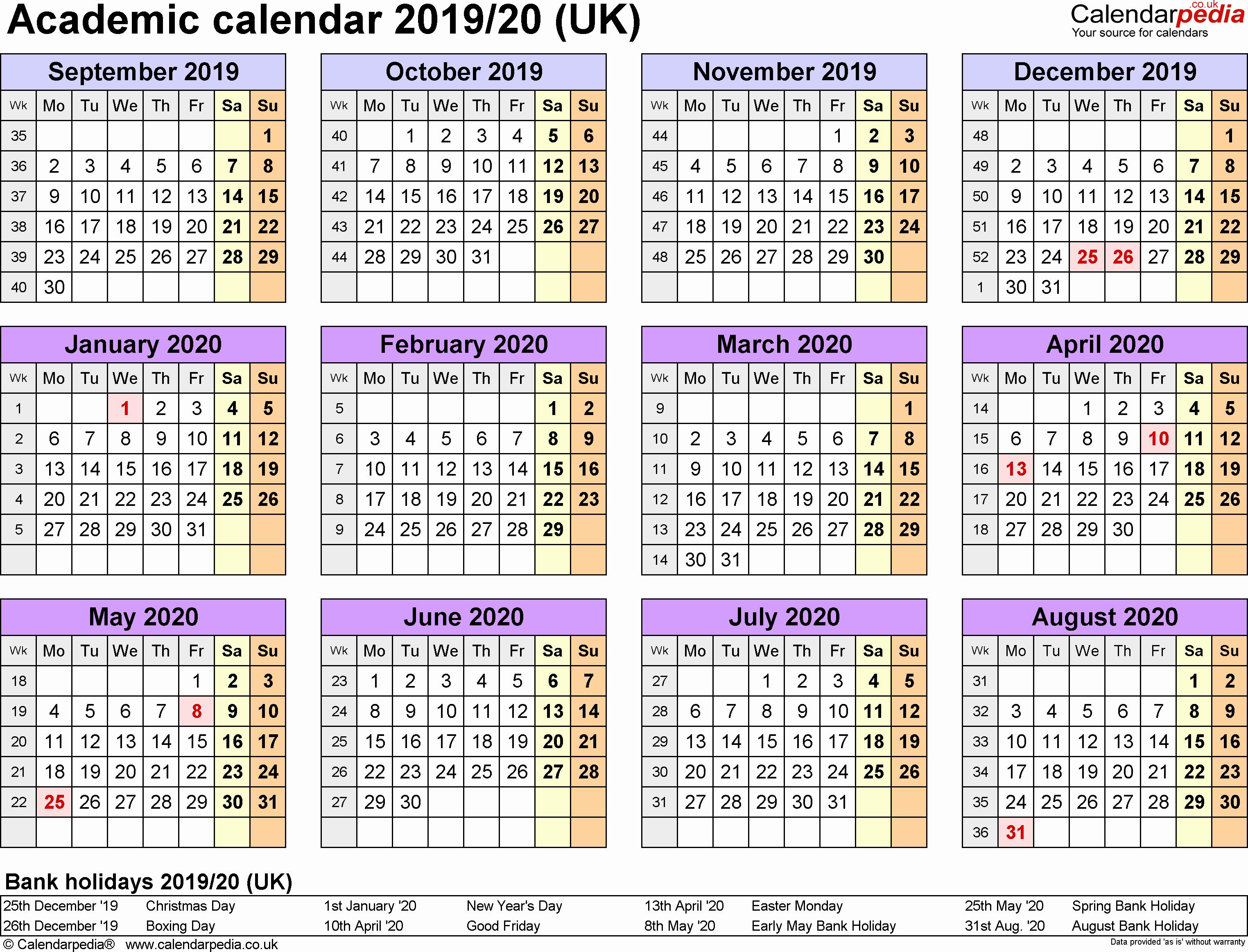 Printable 2019 Monthly School Calendar inside Mauritius School Calendar 2020