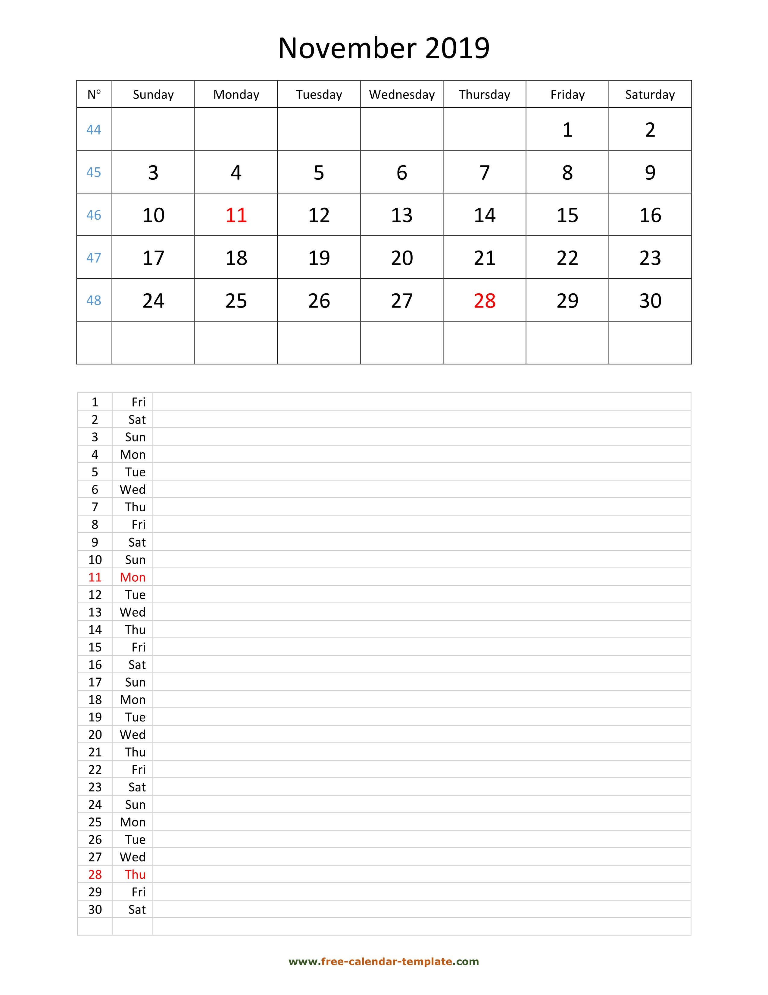 Printable 2019 November Calendar Grid Lines For Daily Notes inside Blank 30 Day Calendar Template