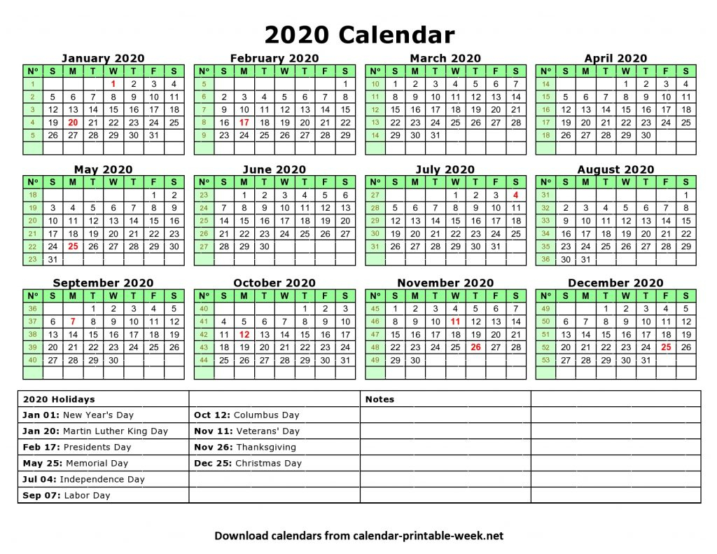 Printable 2020 Calendar – Calendar Printable Week with regard to 2020 Calendar With Holidays Hong Kong Excel