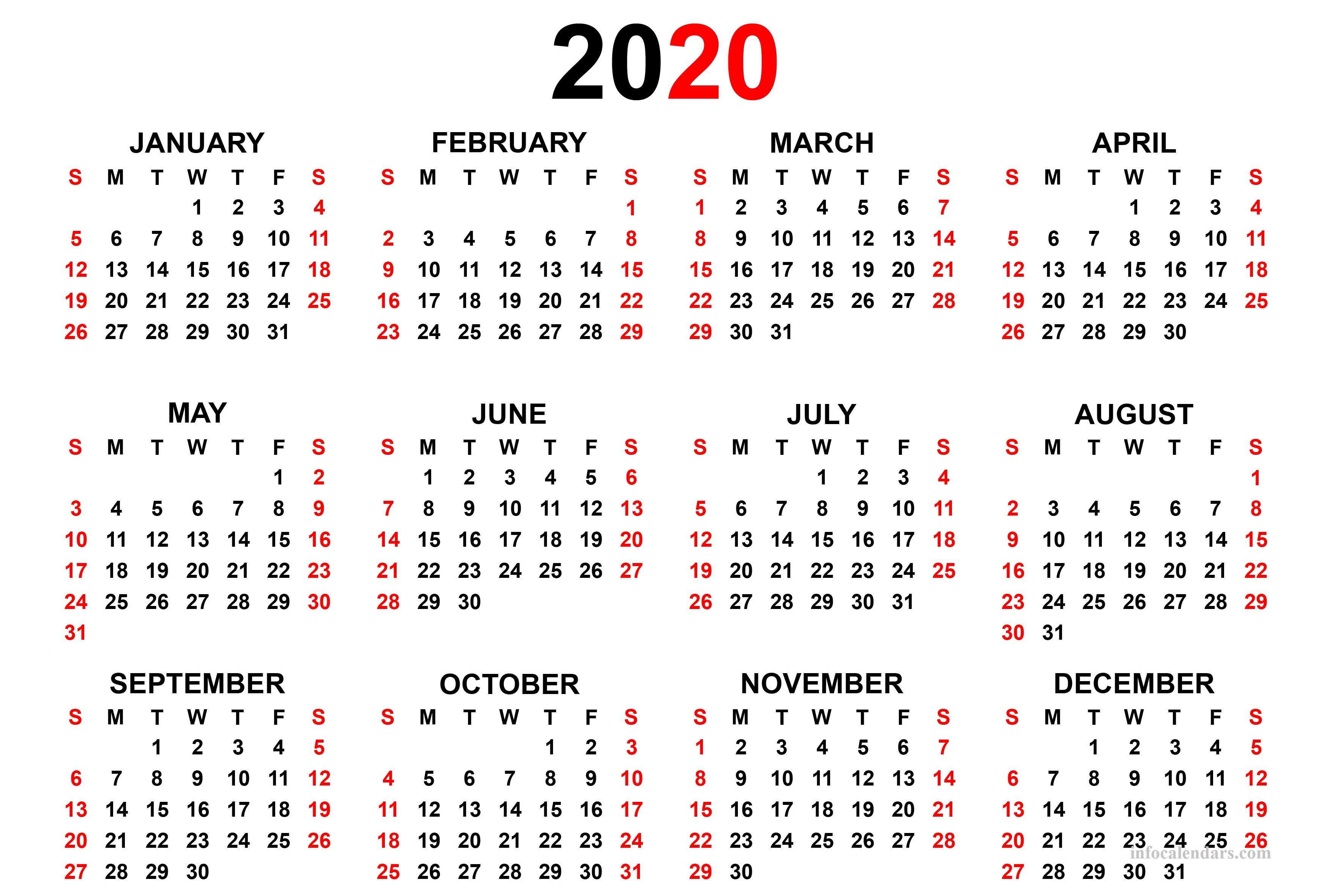 Printable 2020 Calendar For Your Yearly Trip  Infocalendars inside Printable Calendar 2020 With Time Slots