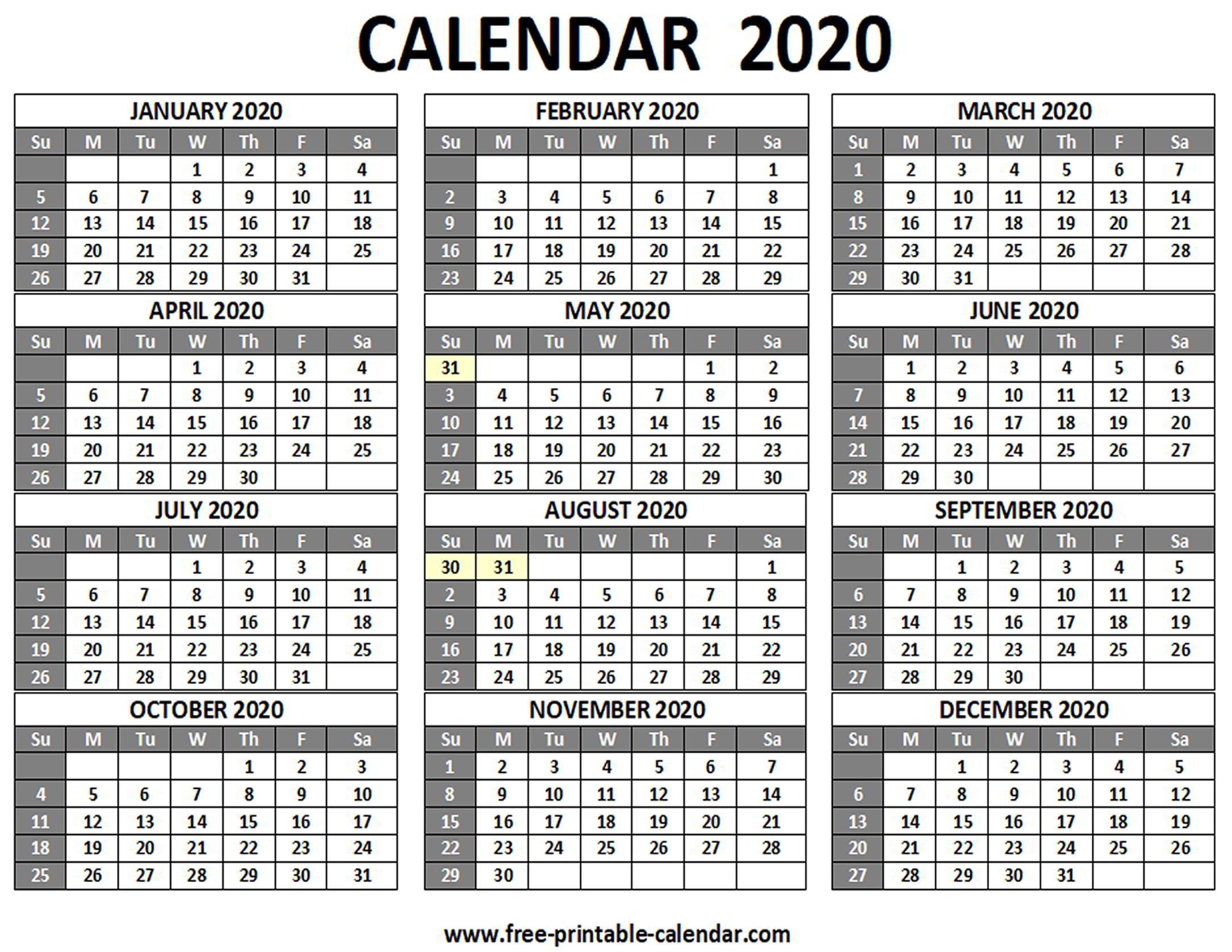 Printable 2020 Calendar  Freeprintablecalendar within Printable 12 Month 2020 Calendar