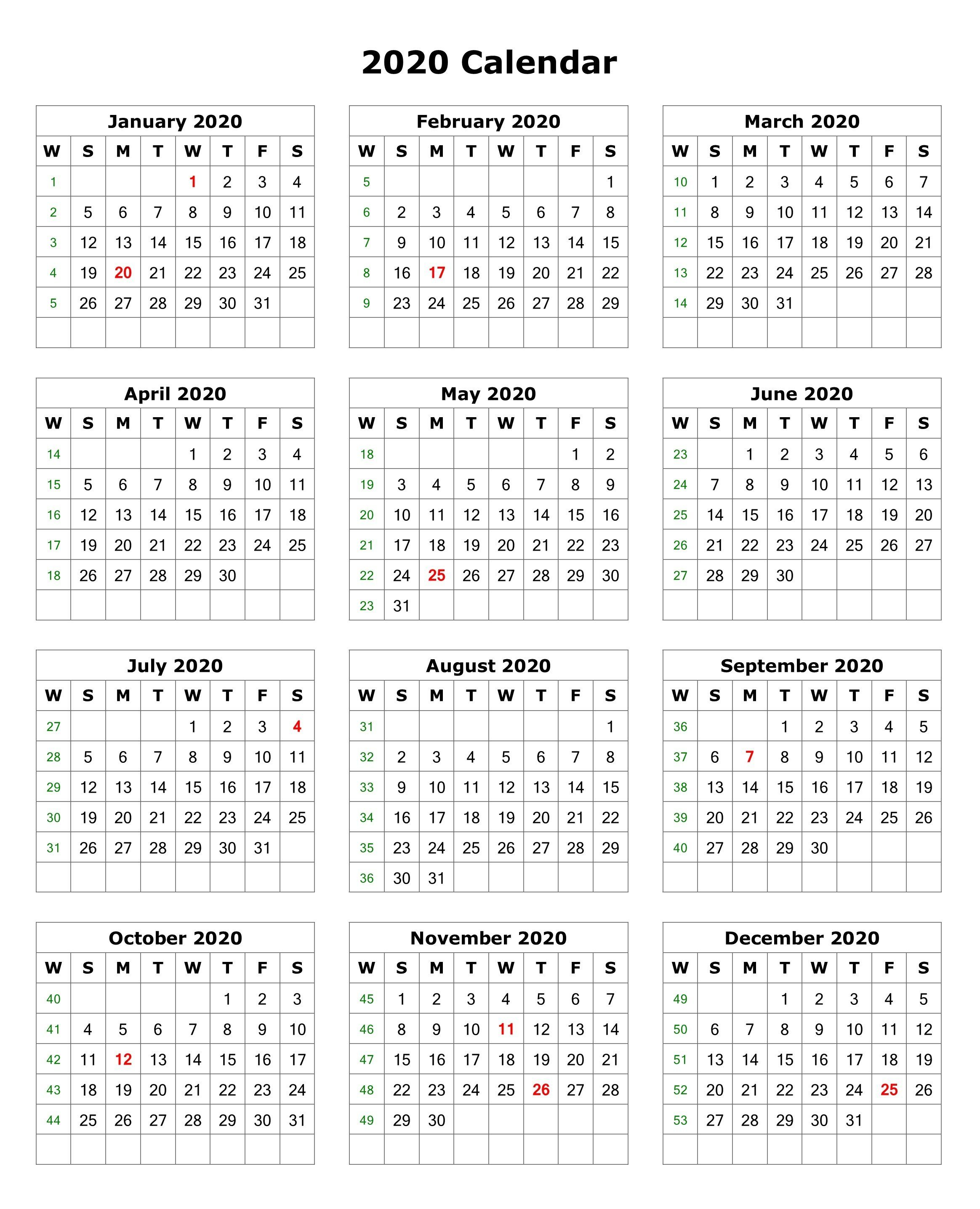 Printable 2020 Calendar On One Page  Bolan.horizonconsulting.co for Printable 12 Month 2020 Calendar