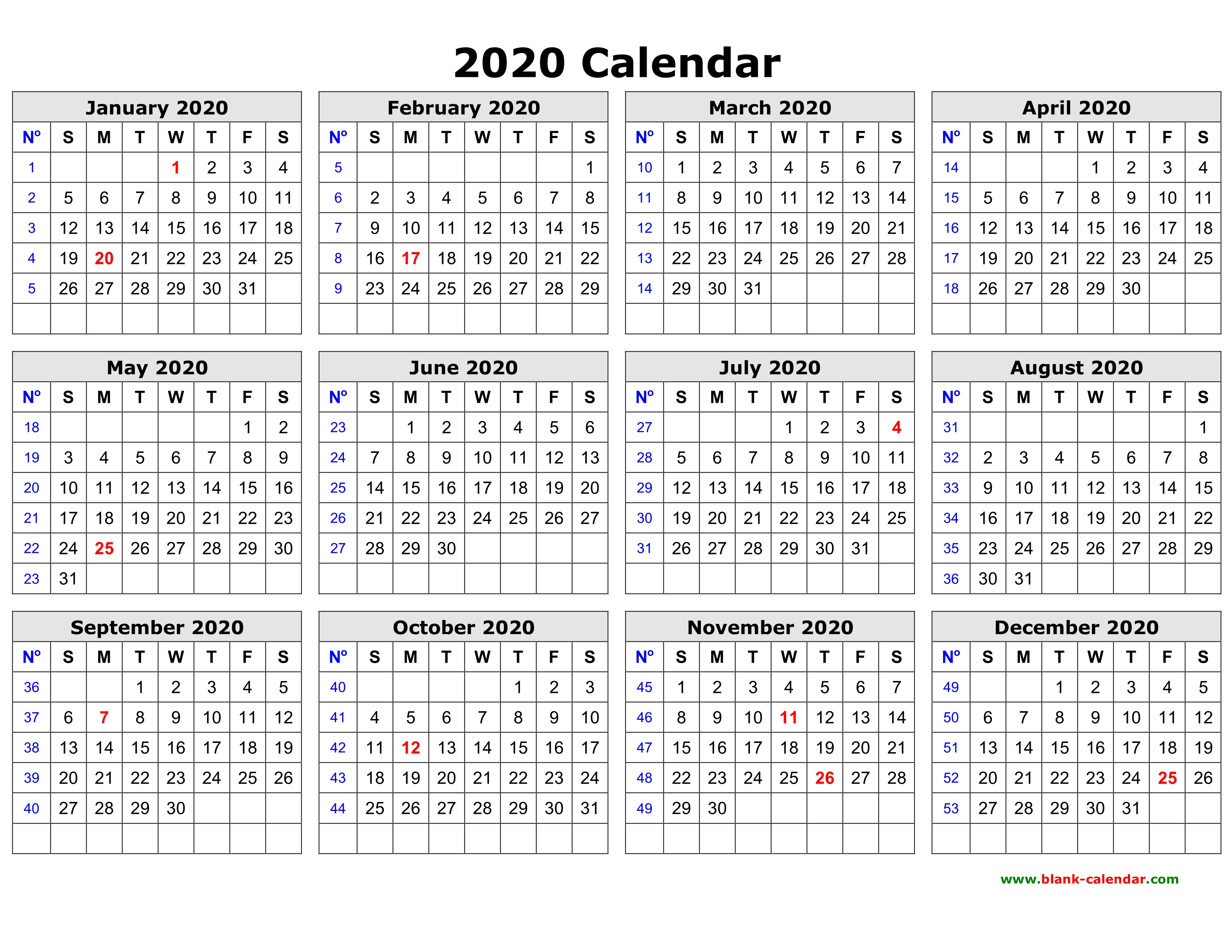 Printable 2020 Calendar On One Page  Bolan.horizonconsulting.co with Large Grid Calendar Printable