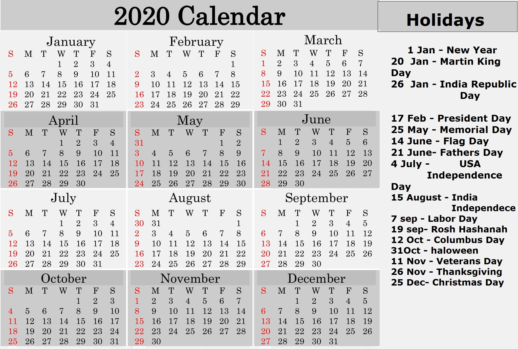 Printable 2020 Calendar With Holidays National throughout National Day Calendar June 2020