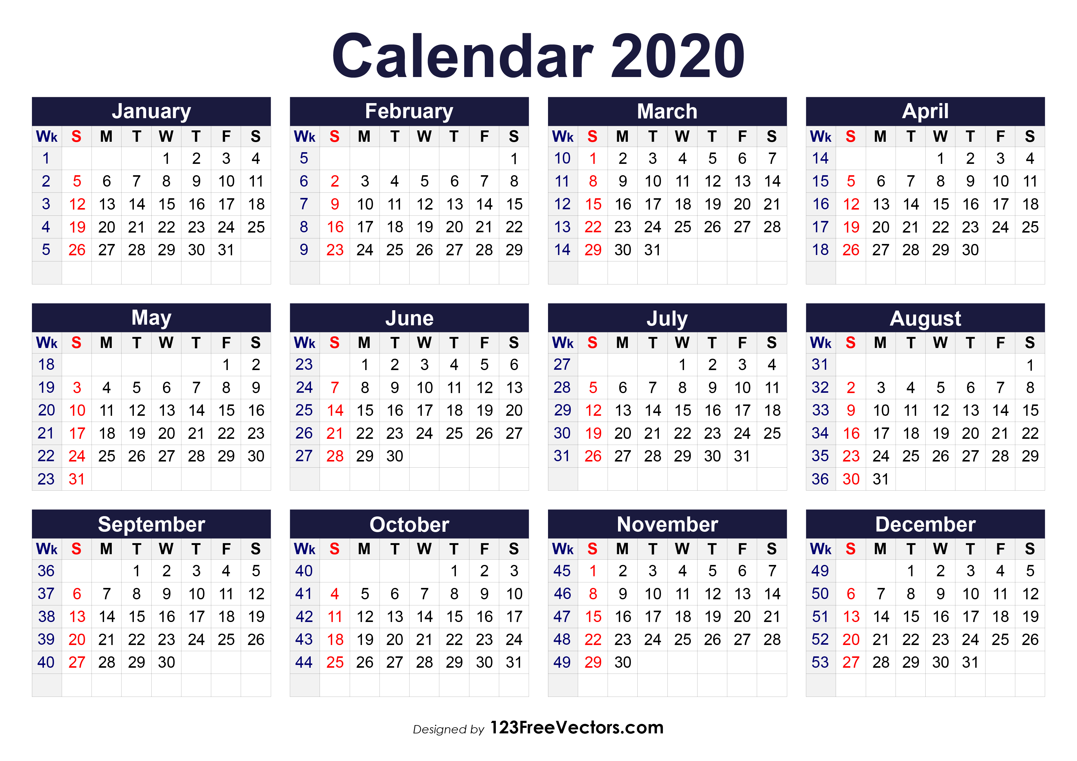 Printable 2020 Calendar With Week Numbers pertaining to Printable Pregnancy Calendar Week By Week