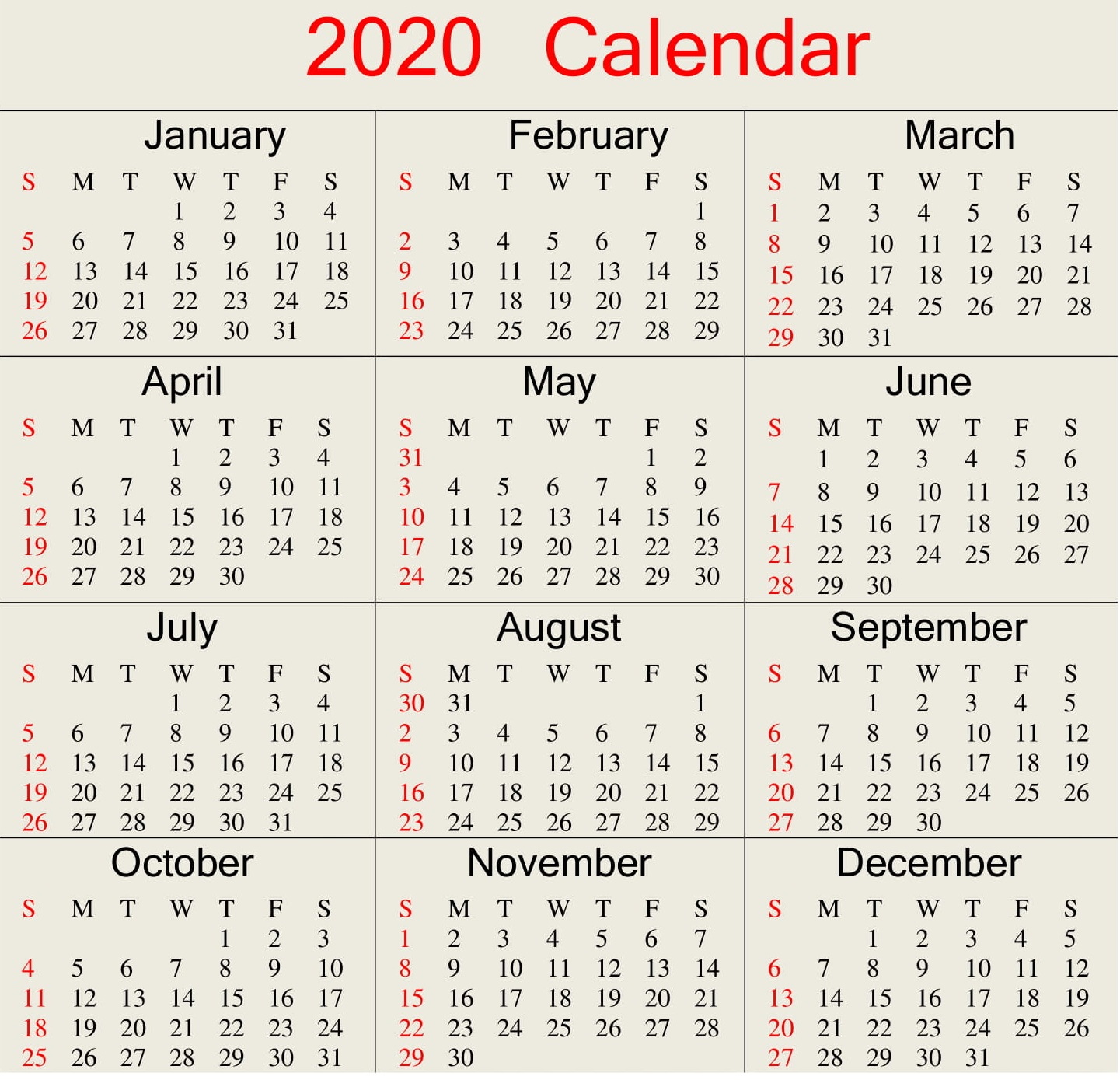 Printable 2020 Calendar Word Document  Latest Printable for 2020 Julian Calendar