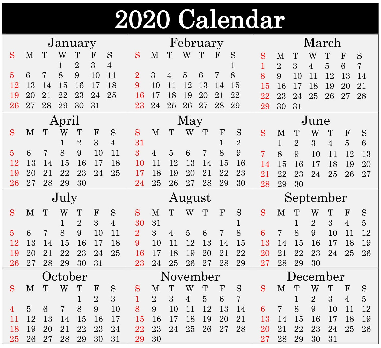 Printable 2020 Calendar Word Document  Latest Printable for Julian 2020 Calendar
