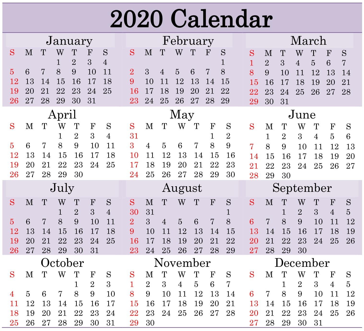 Printable 2020 Calendar Word Document  Latest Printable for Julian Calendar Leap Year
