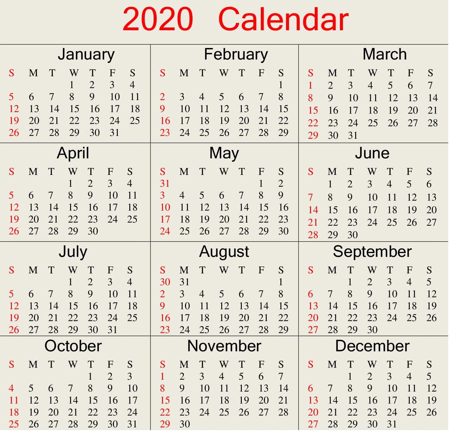 Printable 2020 Calendar Word Document  Latest Printable for Julian Date Calendar For 2020