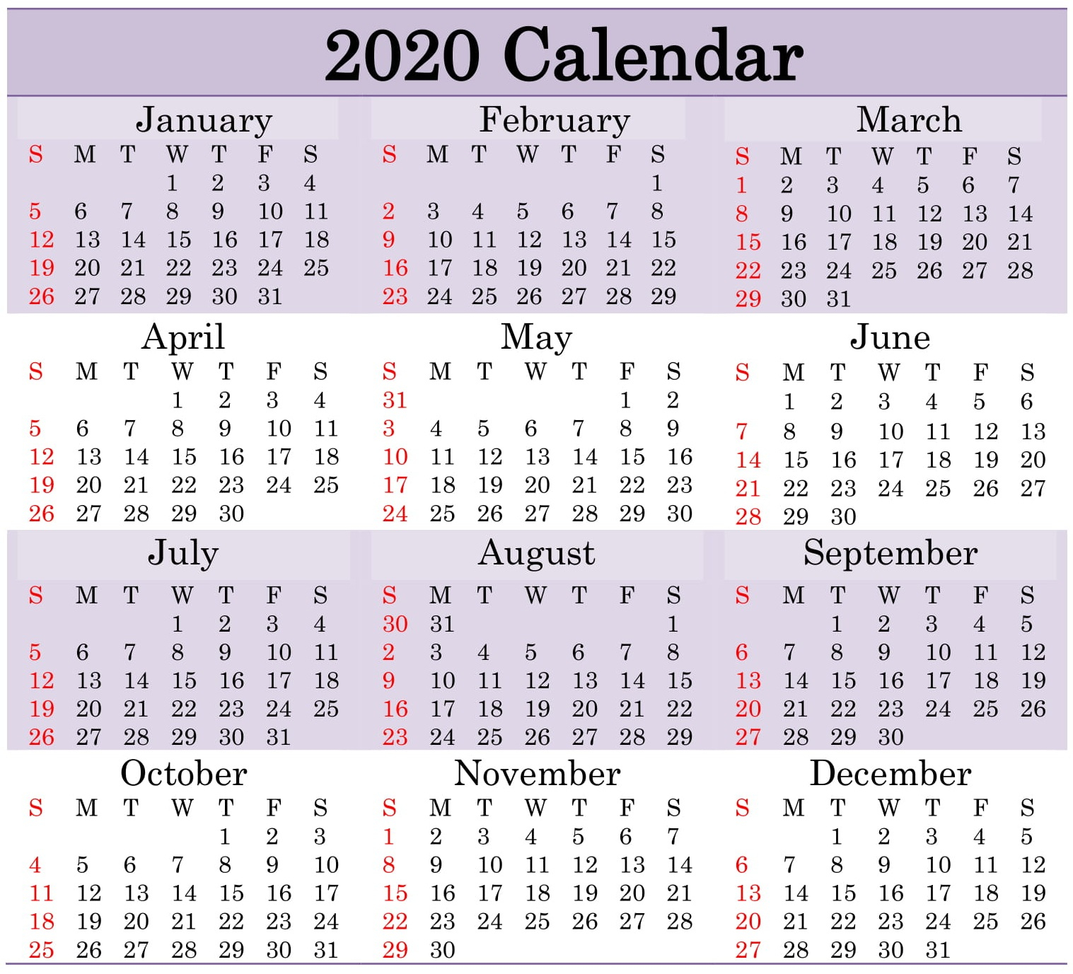 Printable 2020 Calendar Word Document  Latest Printable for Julian Date Calender 2020