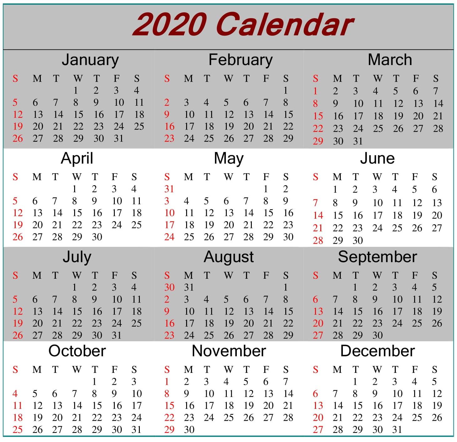 Printable 2020 Calendar Word Document  Latest Printable inside Julian Date Calendar Leap Year Pdf