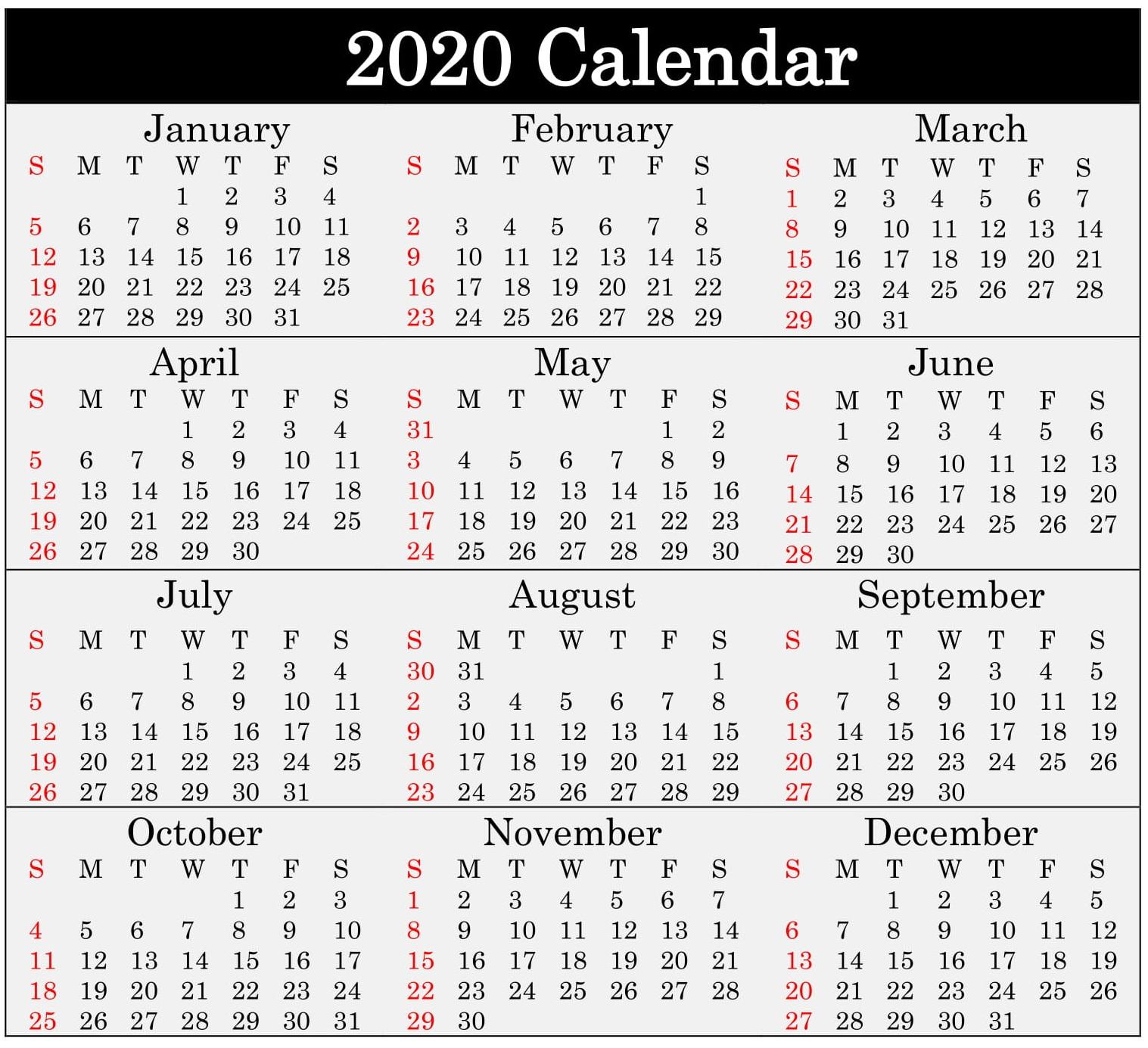 Printable 2020 Calendar Word Document  Latest Printable throughout Julian Date Calendar For 2020