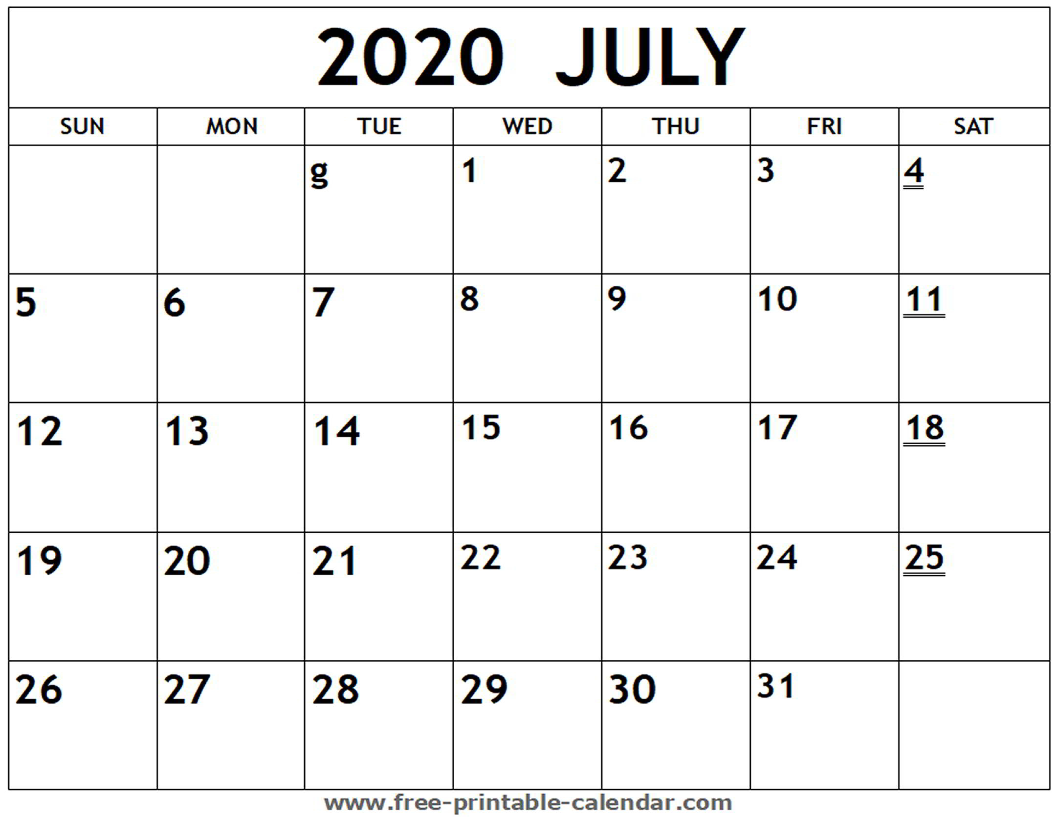 Printable 2020 July Calendar  Freeprintablecalendar within Printable June 2020 Calendar