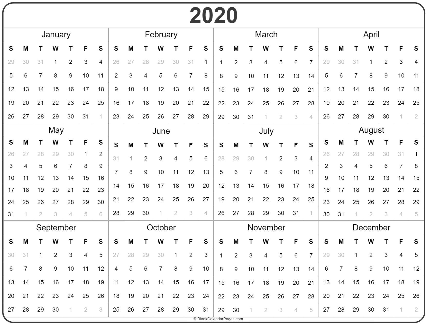 Printable 2020 Year Calendar  Yatay.horizonconsulting.co with regard to 2020 Blank Calendar Pages