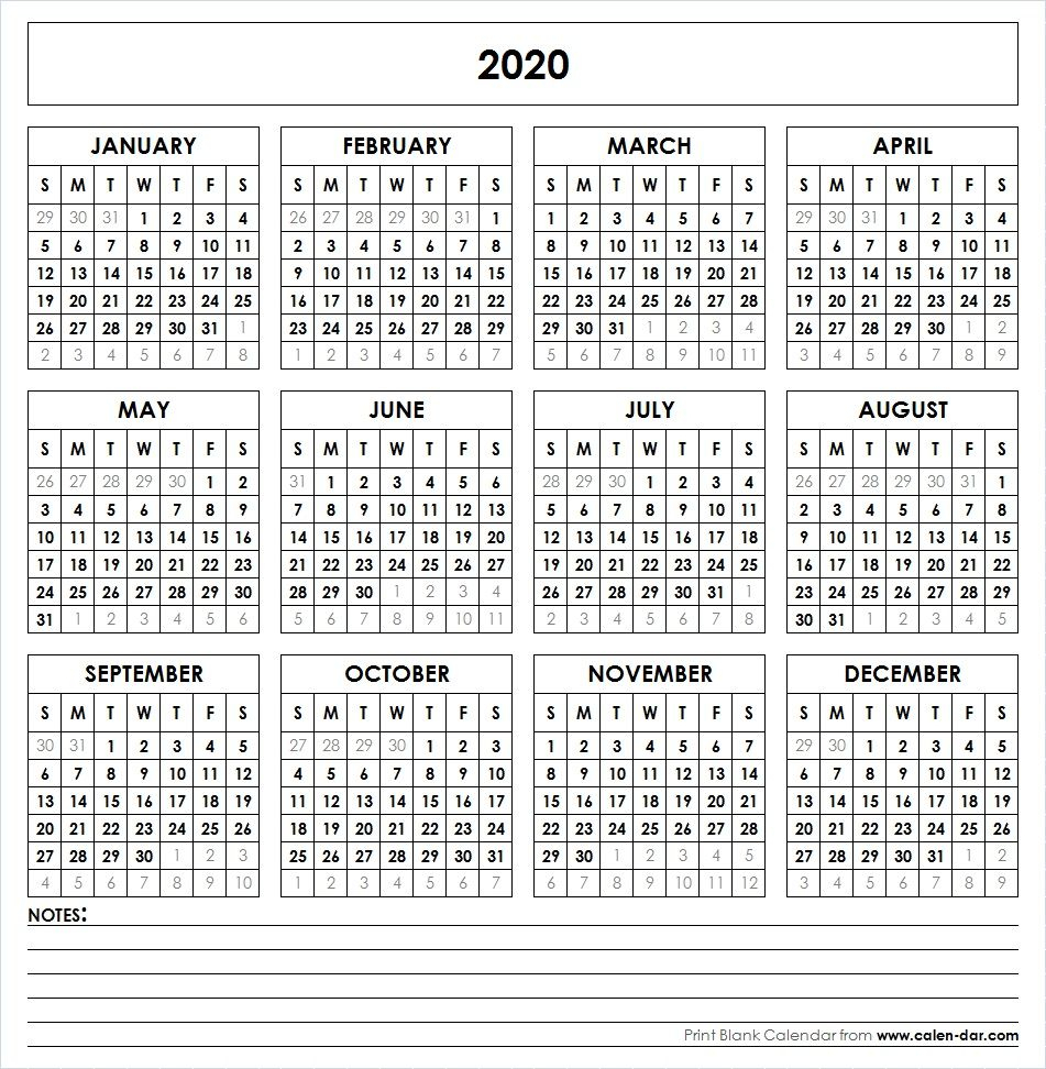 Printable 2020 Yearly Calendar  Yatay.horizonconsulting.co intended for 2020 At A Glance Calendar Printable