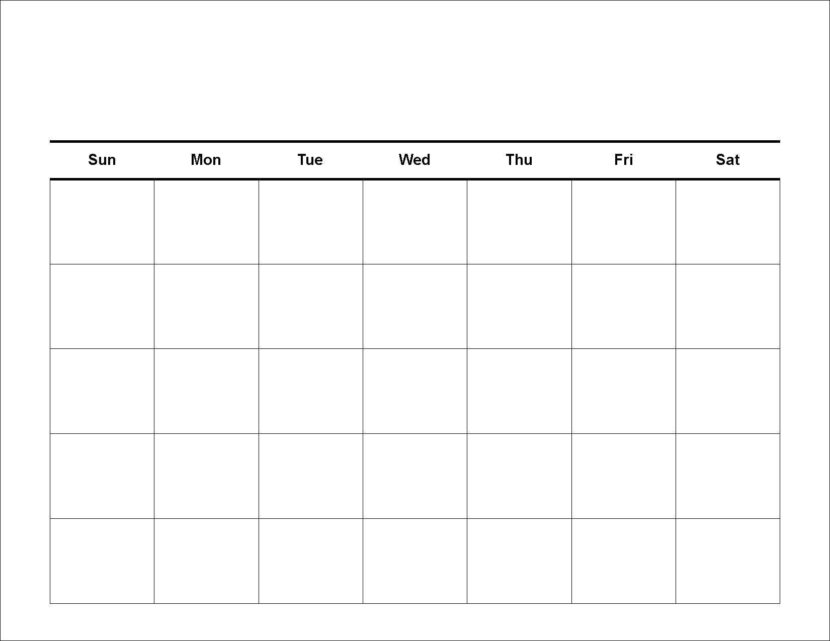 Printable 30 Day Blank Calendar | Weekly Calendar Template for 30 Day Calendar Blank