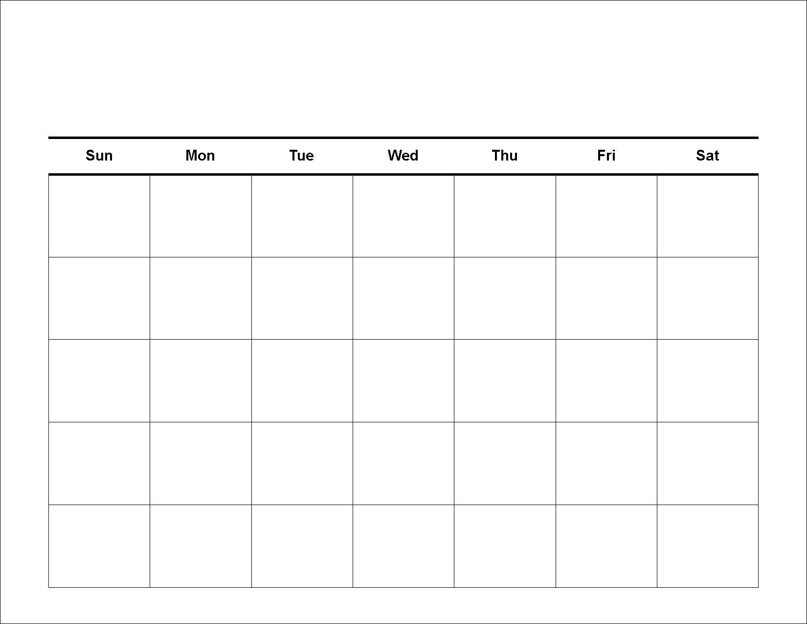 Printable 30 Day Blank Calendar | Weekly Calendar Template for 30 Day Calendar