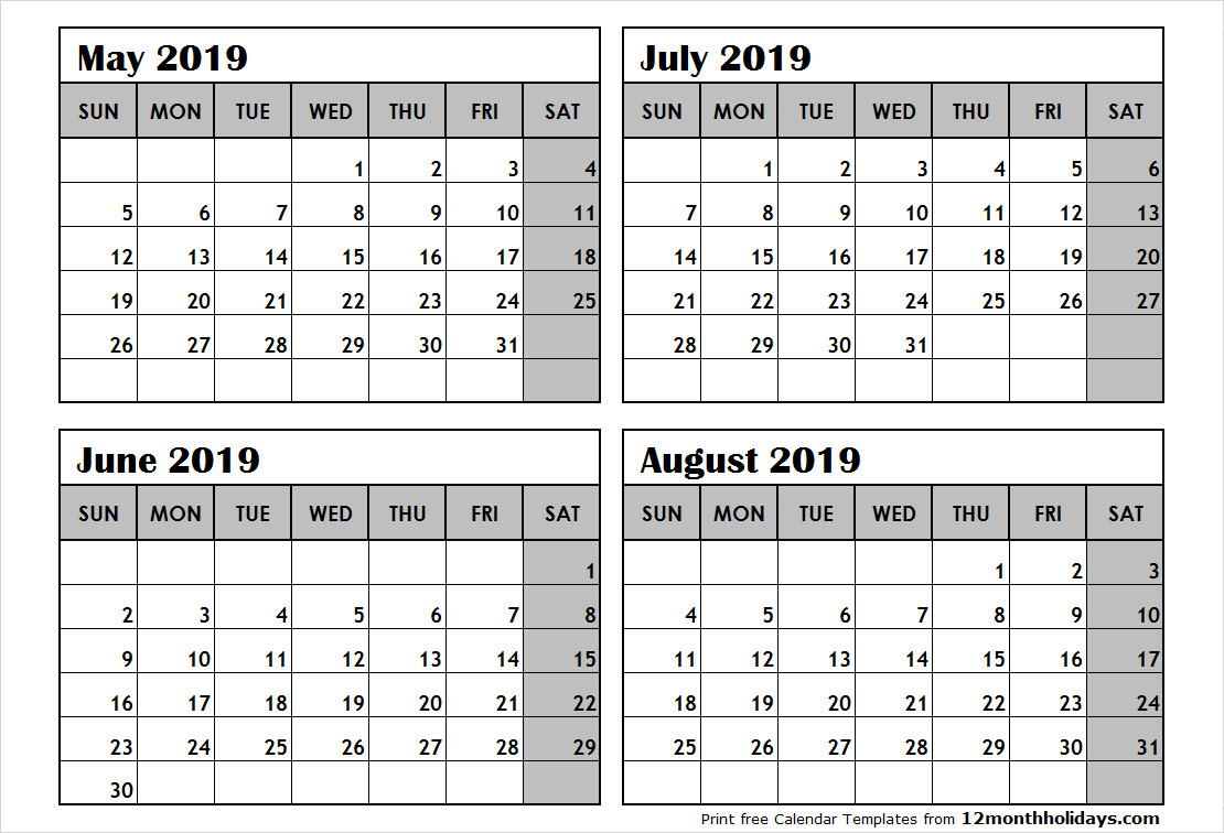 Printable 4 Month Calendar Fresh August To November 2018 regarding Printable Calendar 4 Months Per Page