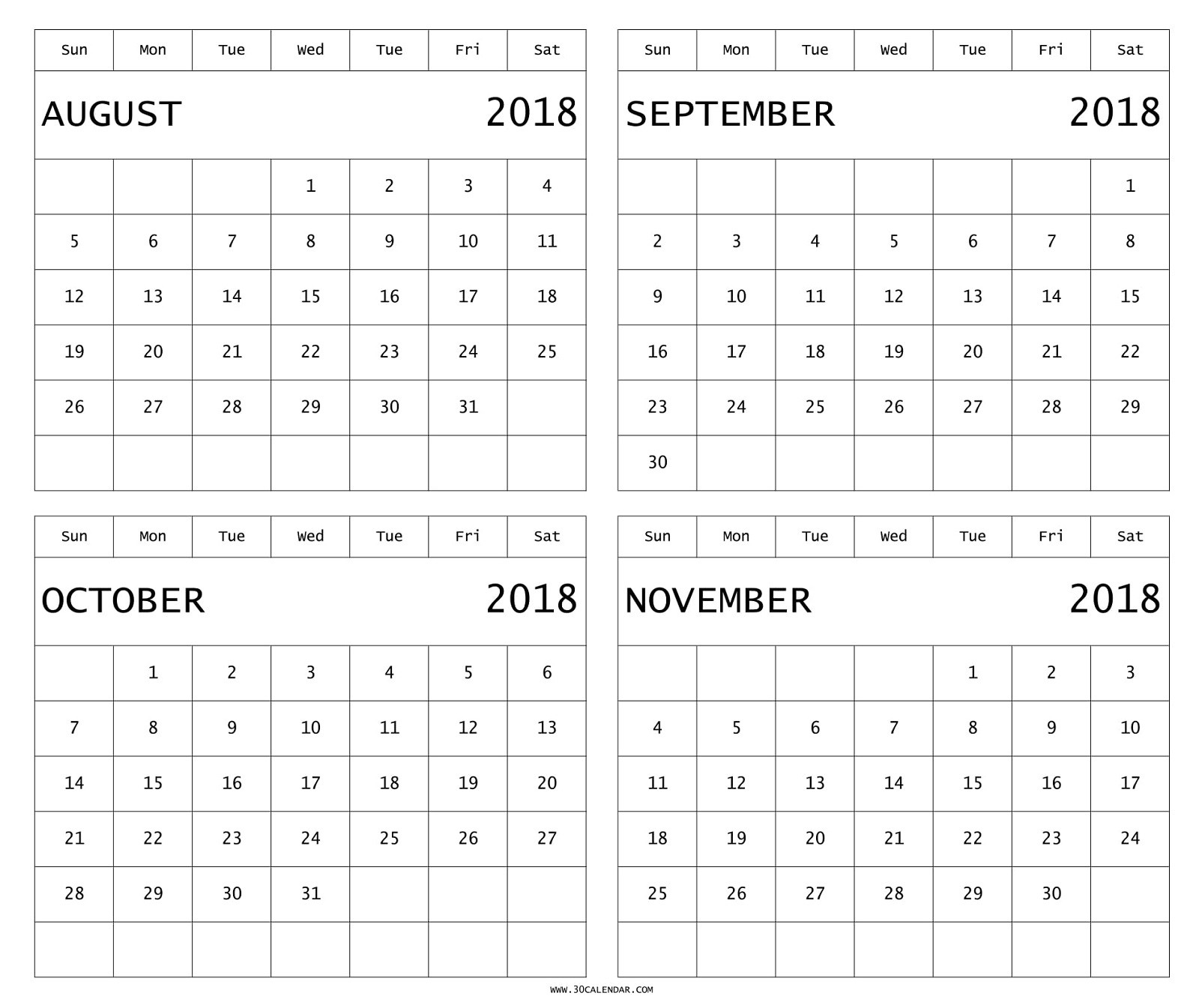 Printable 4 Month Calendar Fresh August To November 2018 with regard to 4 Month Calendar Template