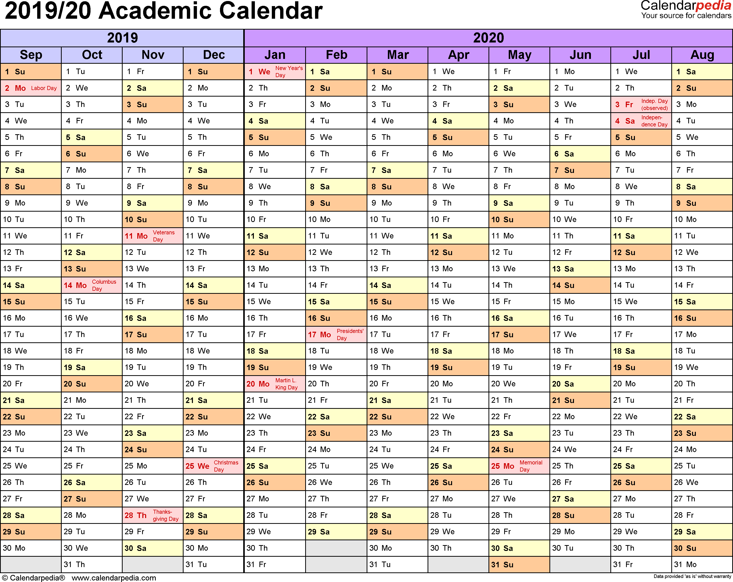 Printable Academic Calendar 2020 16  Bolan.horizonconsulting.co inside Berkeley 2020-2020 Calendar