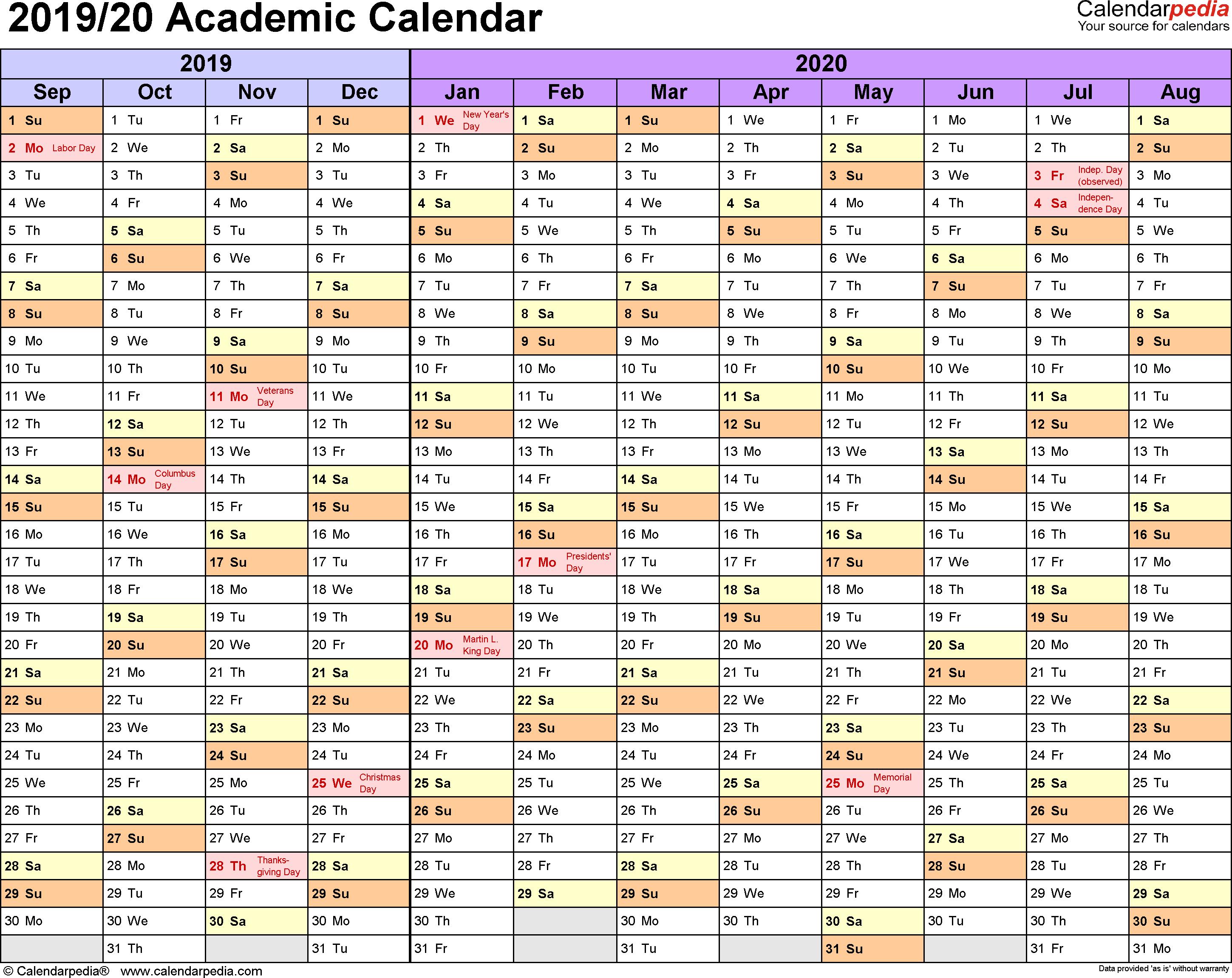 Printable Academic Calendar 2020 16  Bolan.horizonconsulting.co with Uc Berkeley Calendar 2020-2020