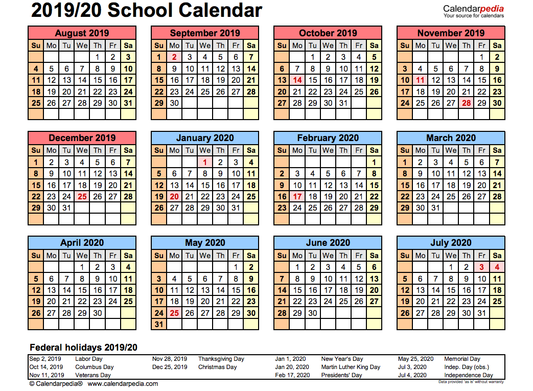 Printable Academic Calendar 2020 16  Bolan.horizonconsulting.co within Uc Berkeley 2020-2020 Calendar