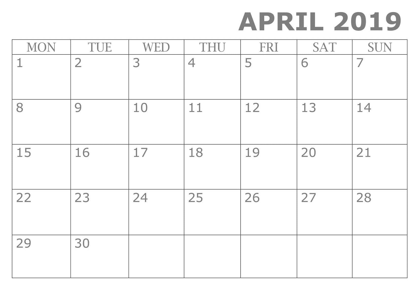 Printable April 2019 Calendar Template | Calendar Template with regard to Google Calendar Printable Template