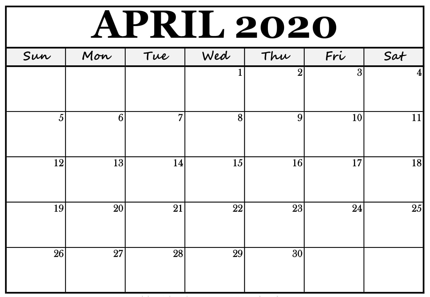 Printable April Calendar 2020 Template | Printable Calendar inside April 2020 Printable Calendar
