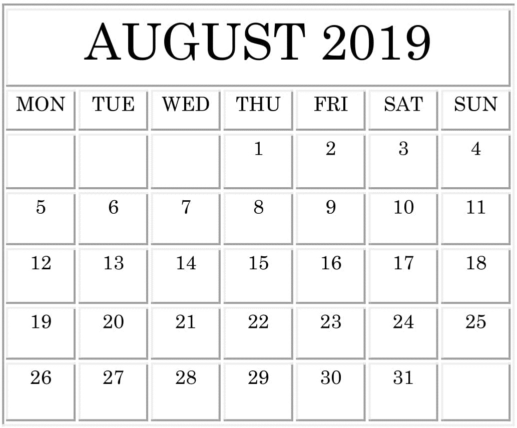 Printable August 2019 Calendar Word,pdf Docs – Free Latest throughout Free Printable Large Print Calendars For The Visually Impaired