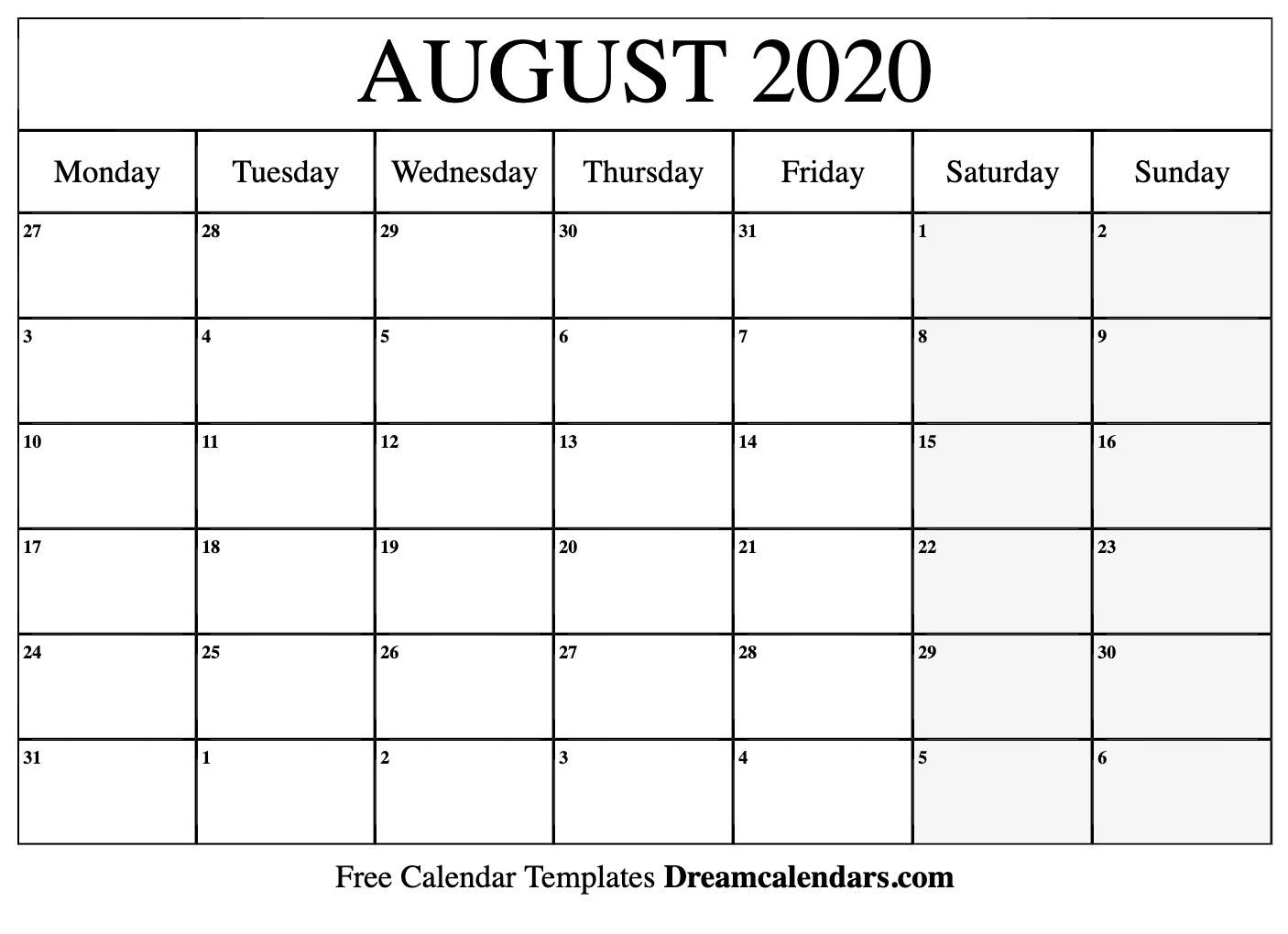 Printable August 2020 Calendar Templates  Helena Orstem intended for August 2020 Calendar Printable