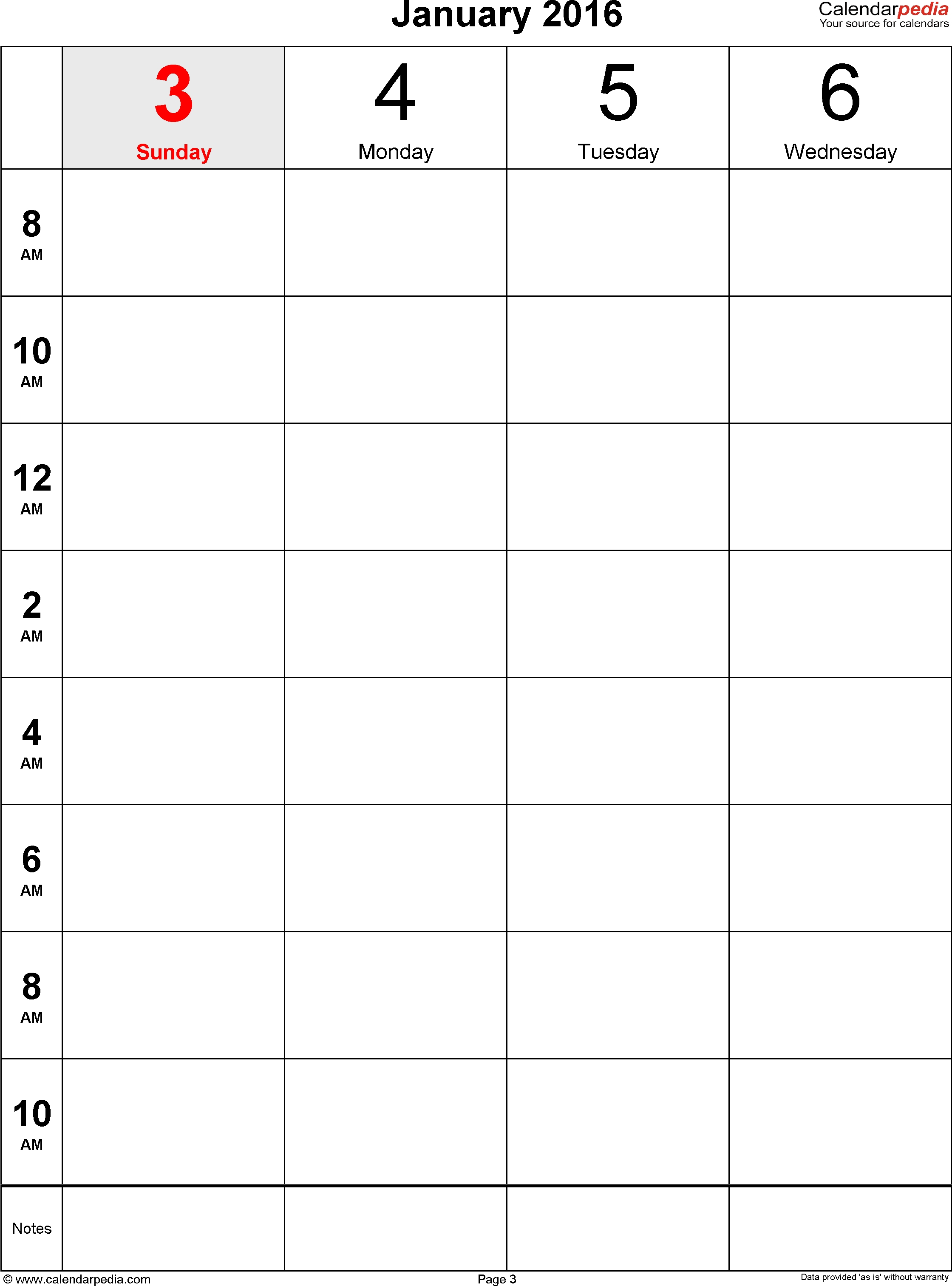 Printable Blank 12 Week Calendar Template | Example Calendar for Printable Week Calendar