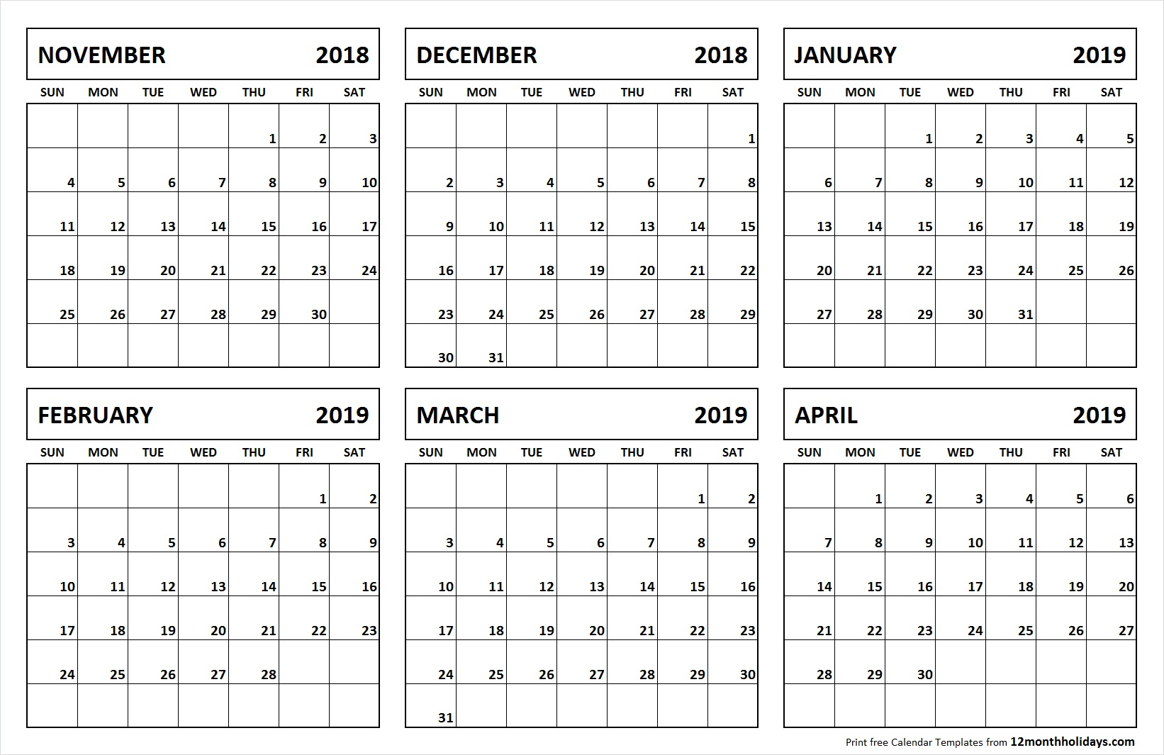 Printable Blank 6 Month Calendar November 2018 April 2019 inside 6 Month Calendar Template