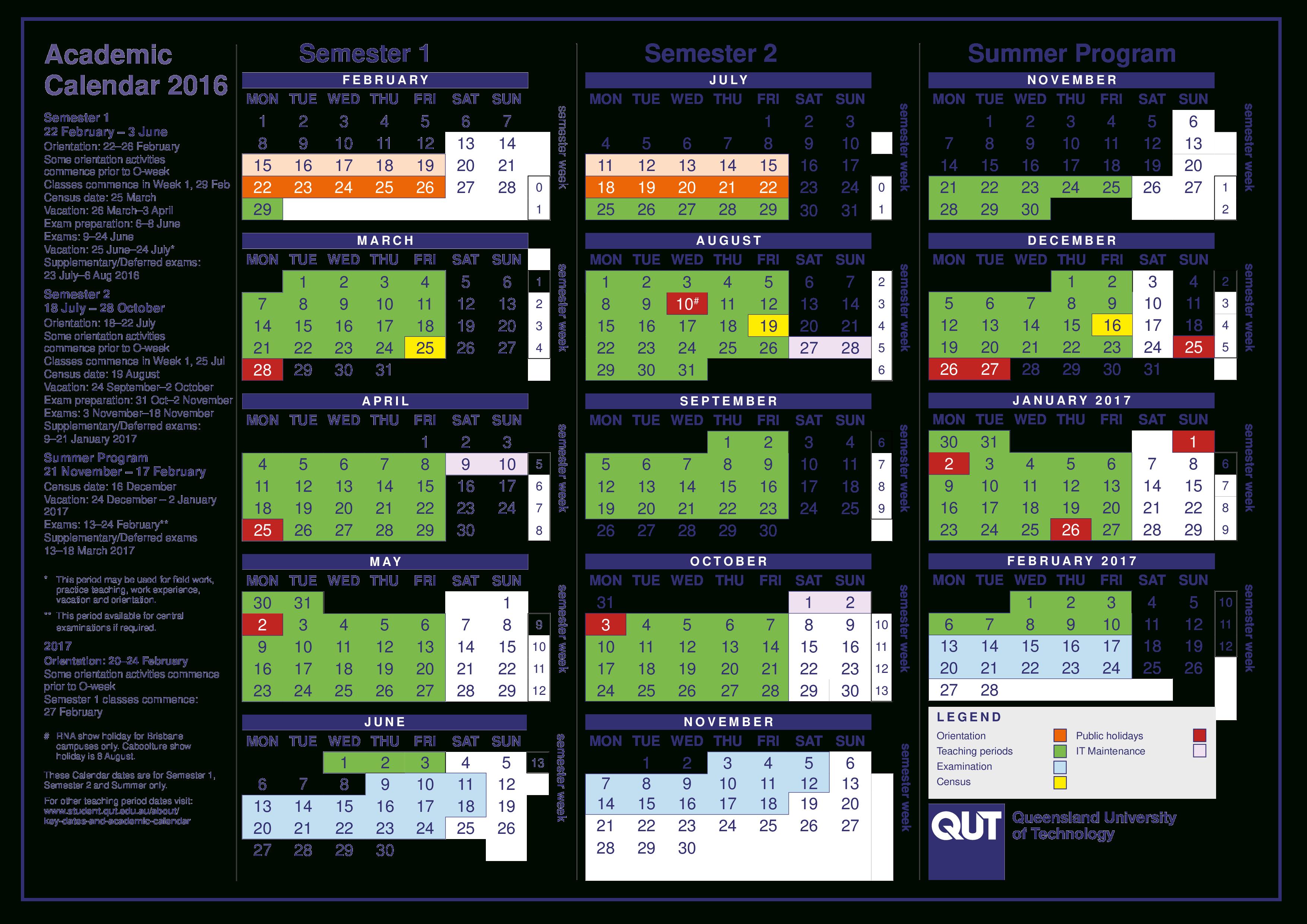 Printable Blank Academic Calendar | Templates At for Qut Academic Calendar 2020