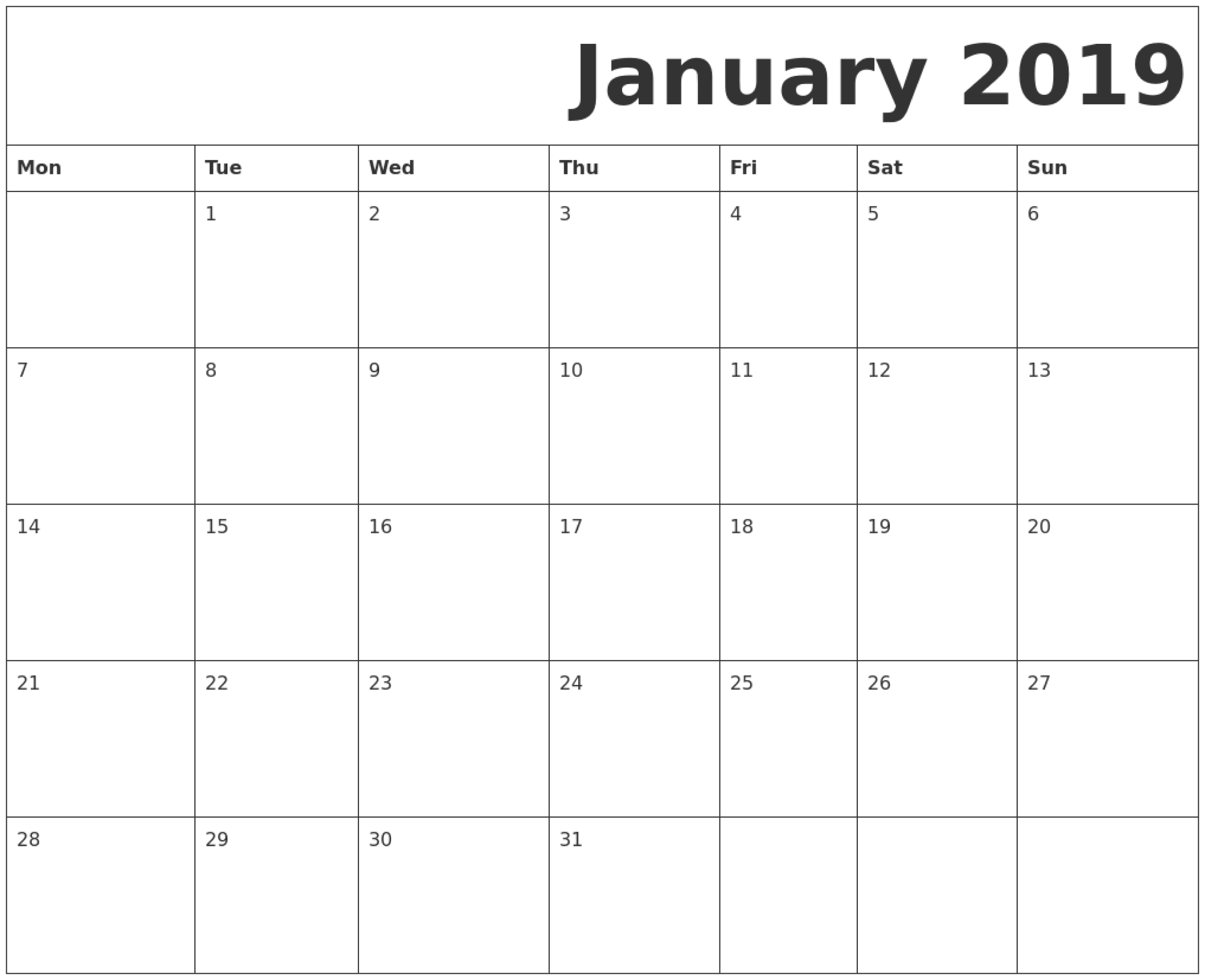 Printable Blank Calendar That Starts On Monday | Monthly with Blank Calendar Starting With Monday