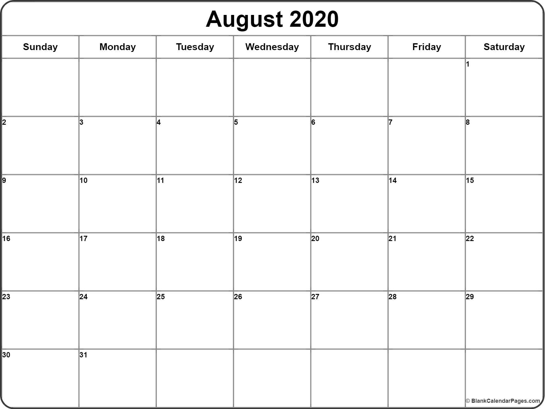 Printable Blank Calendar Week 2020 August And | Gallery Of with Quadax Julian Date Calendar 2020