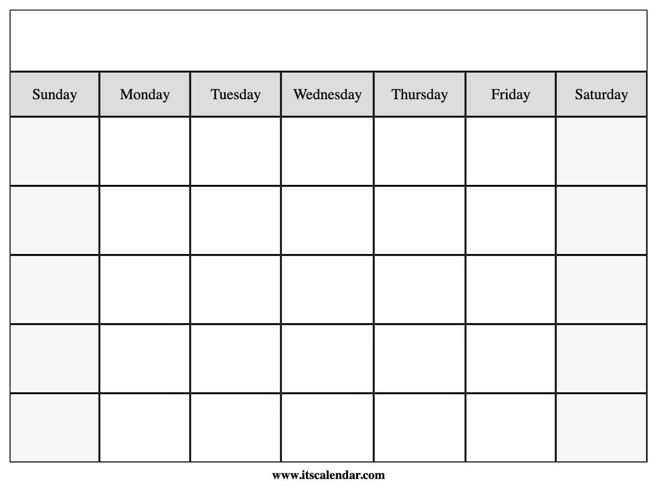 Printable Blank Calendar with Fill In Blank Calendar