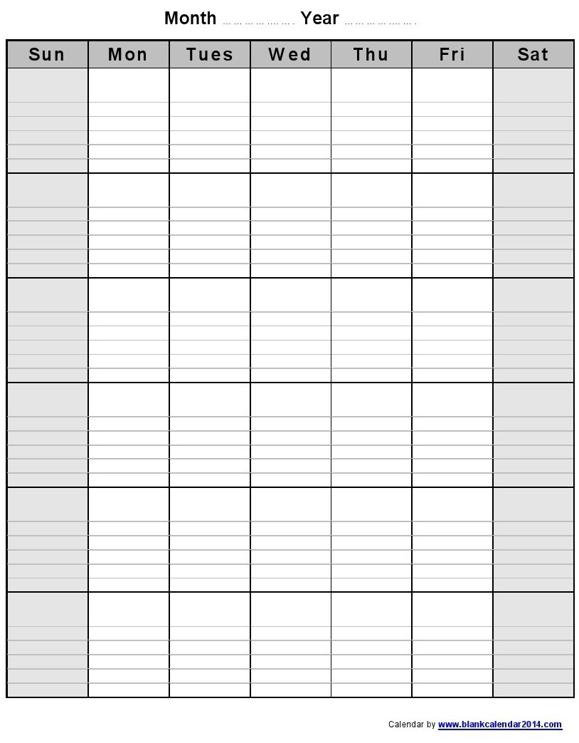 Printable Blank Calendar With Lines | Monthly Printable Calender inside Printable Calendar With Lines