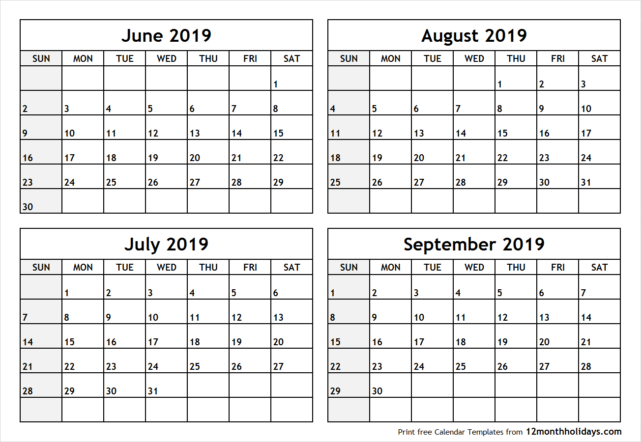 Printable Blank Four Month June July August September 2019 pertaining to 4 Month Calendar Template