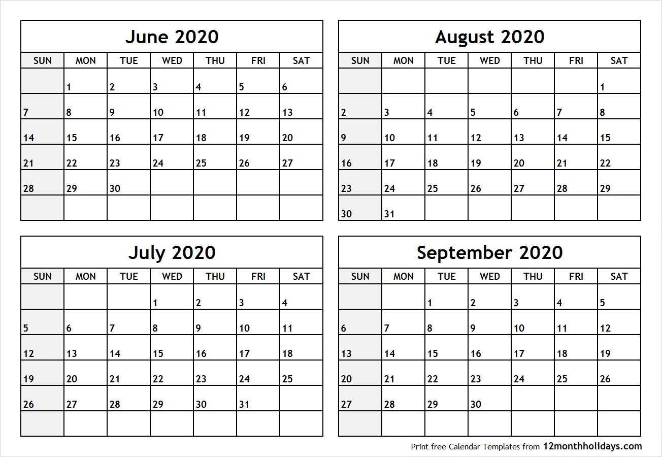 Printable Blank Four Month June July August September 2020 for May June July August 2020 Calendar