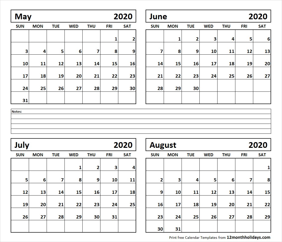 Printable Blank Four Month May June July August 2020 pertaining to May June July August 2020 Calendar