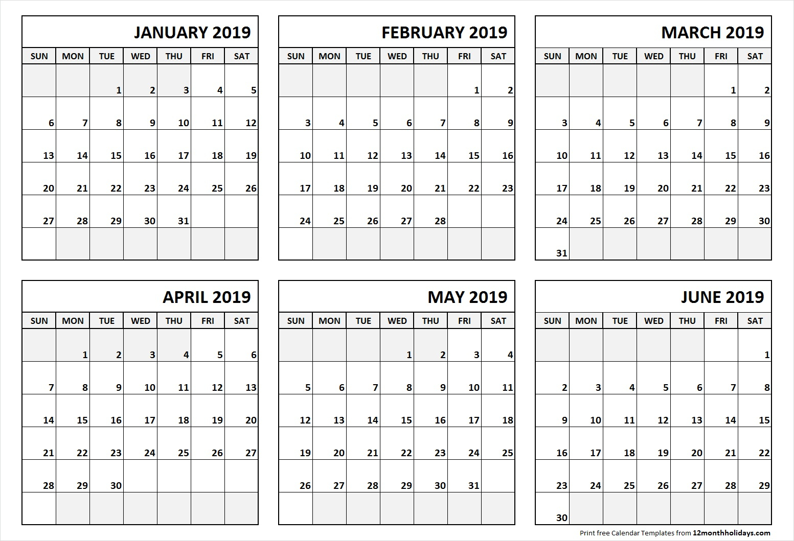 Printable Blank Six Month 6 Month Calendar January June 2019 in 6 Month Calendar Template