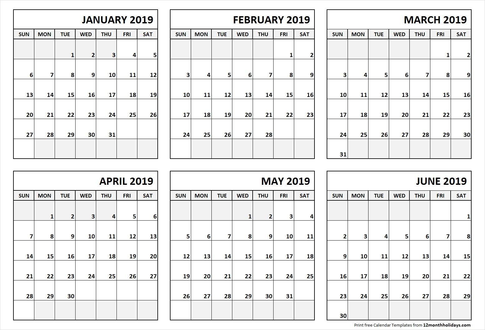 Printable Blank Six Month 6 Month Calendar January June 2019 with Printable 6 Month Calendar
