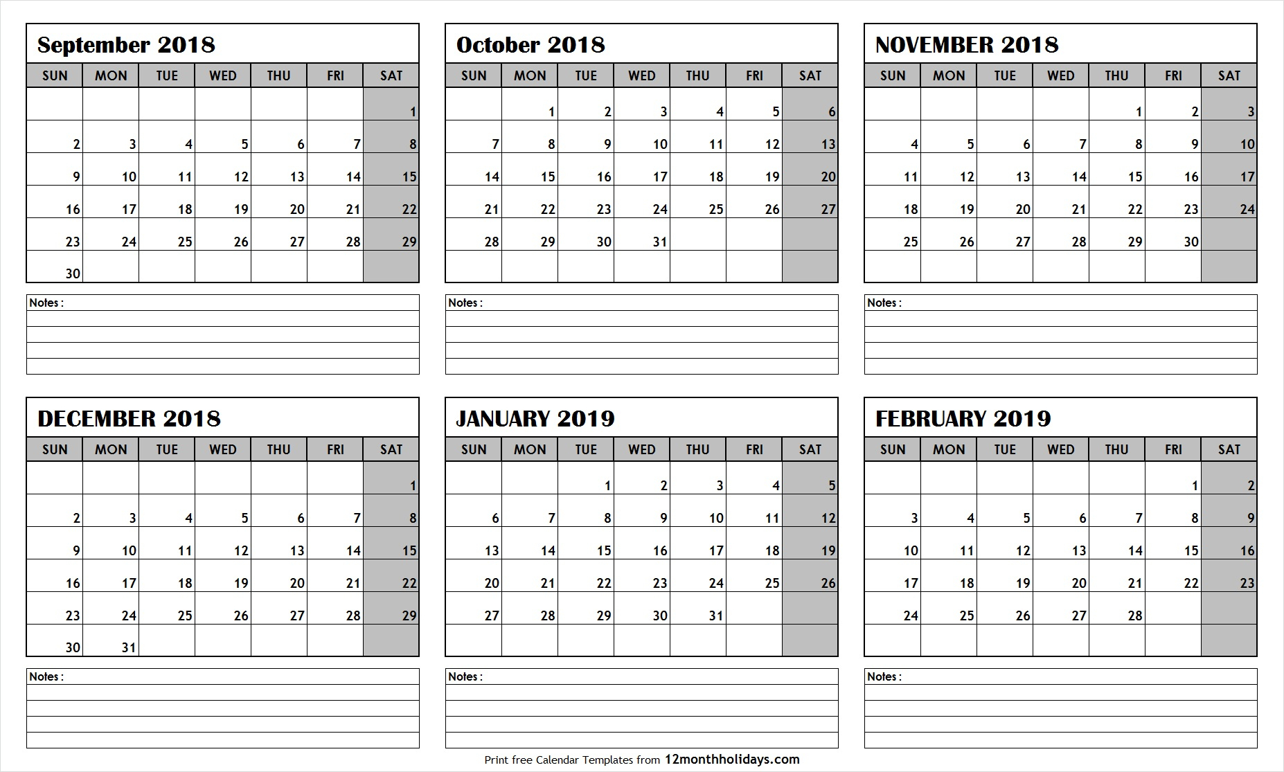 Printable Blank Six Month 6 Month Calendar September in 6 Month Calendar Printable