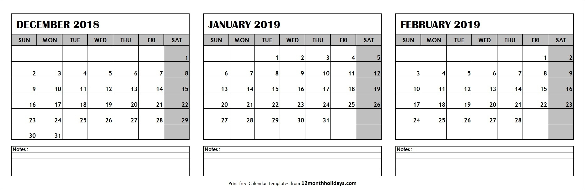 Printable Blank Three Month December 2018 February 2019 within Three Month Calendar Template