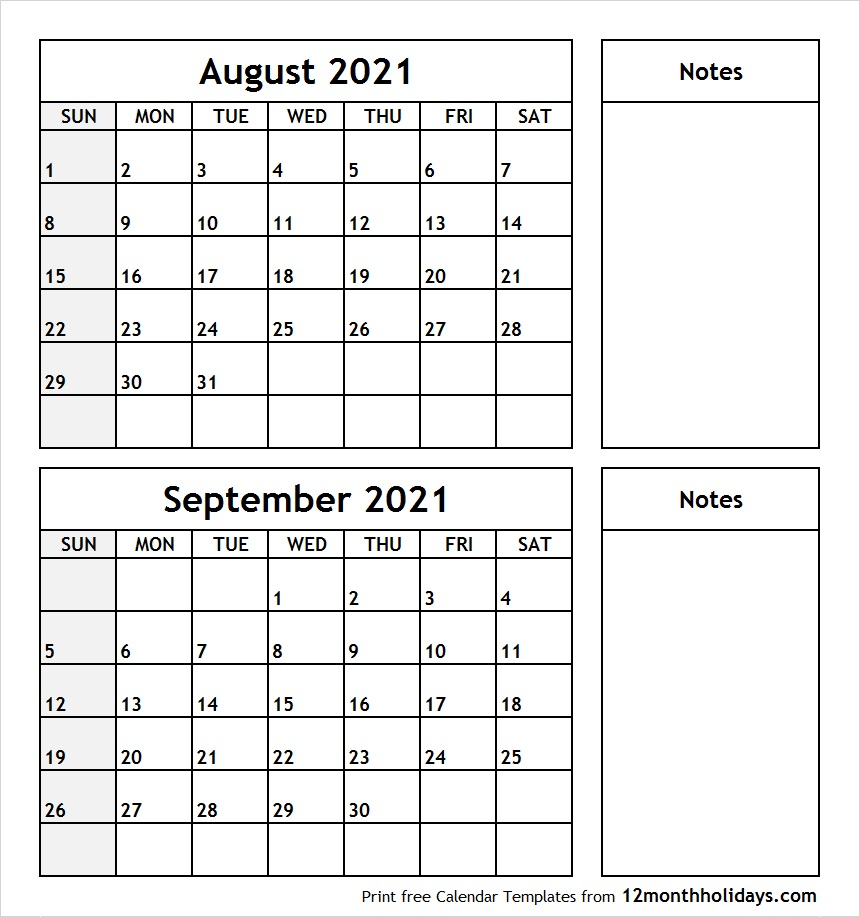 Printable Blank Two Month Calendar August September 2021 with Blank 2 Month Calendar