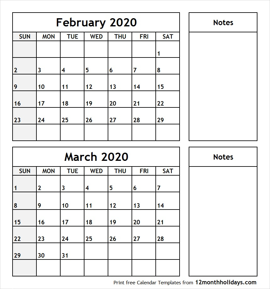 Printable Blank Two Month Calendar February March 2020 Template regarding Feb And March 2020