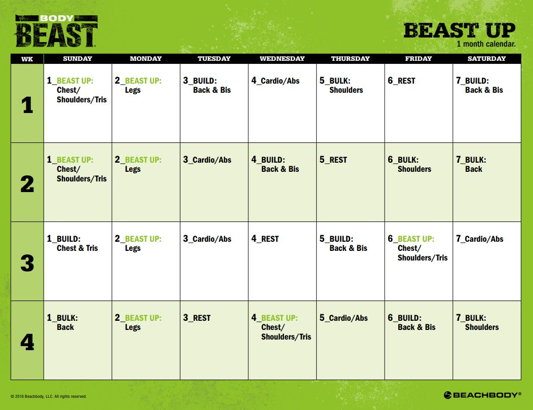 Printable Body Beast Schedule  Zillafitness throughout Body Beast Hybrid Calendar