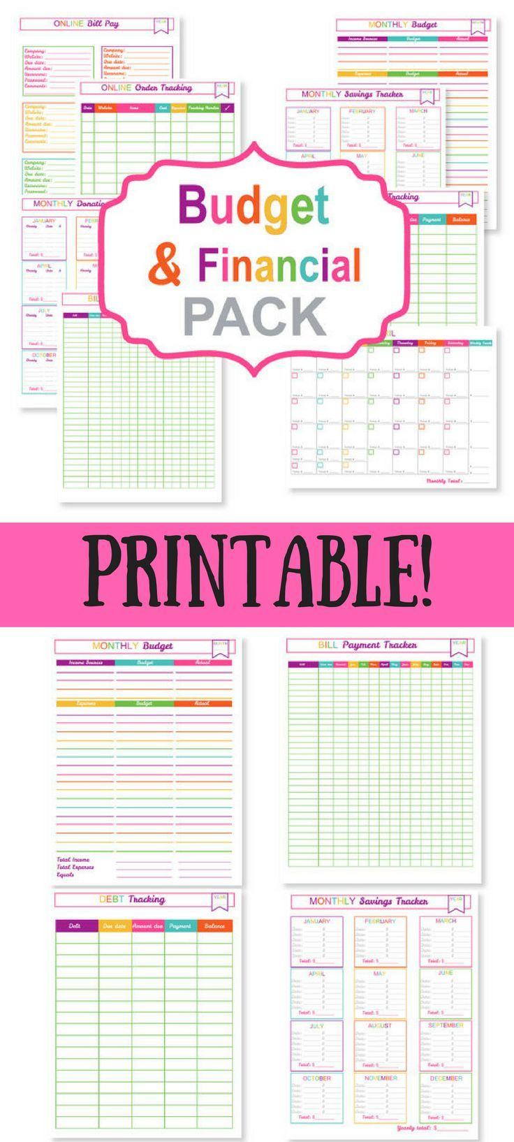 Printable Budget Planner Pack  Printable Bill Tracker for Free Printable Bill Organizer
