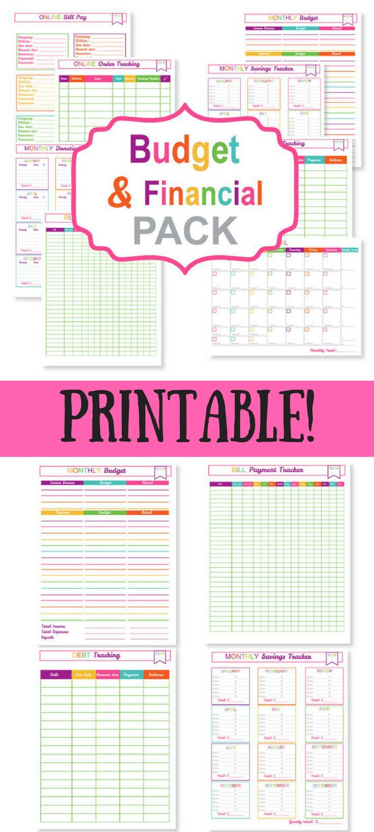 Printable Budget Planner Pack  Printable Bill Tracker throughout Printable Bill Organizer