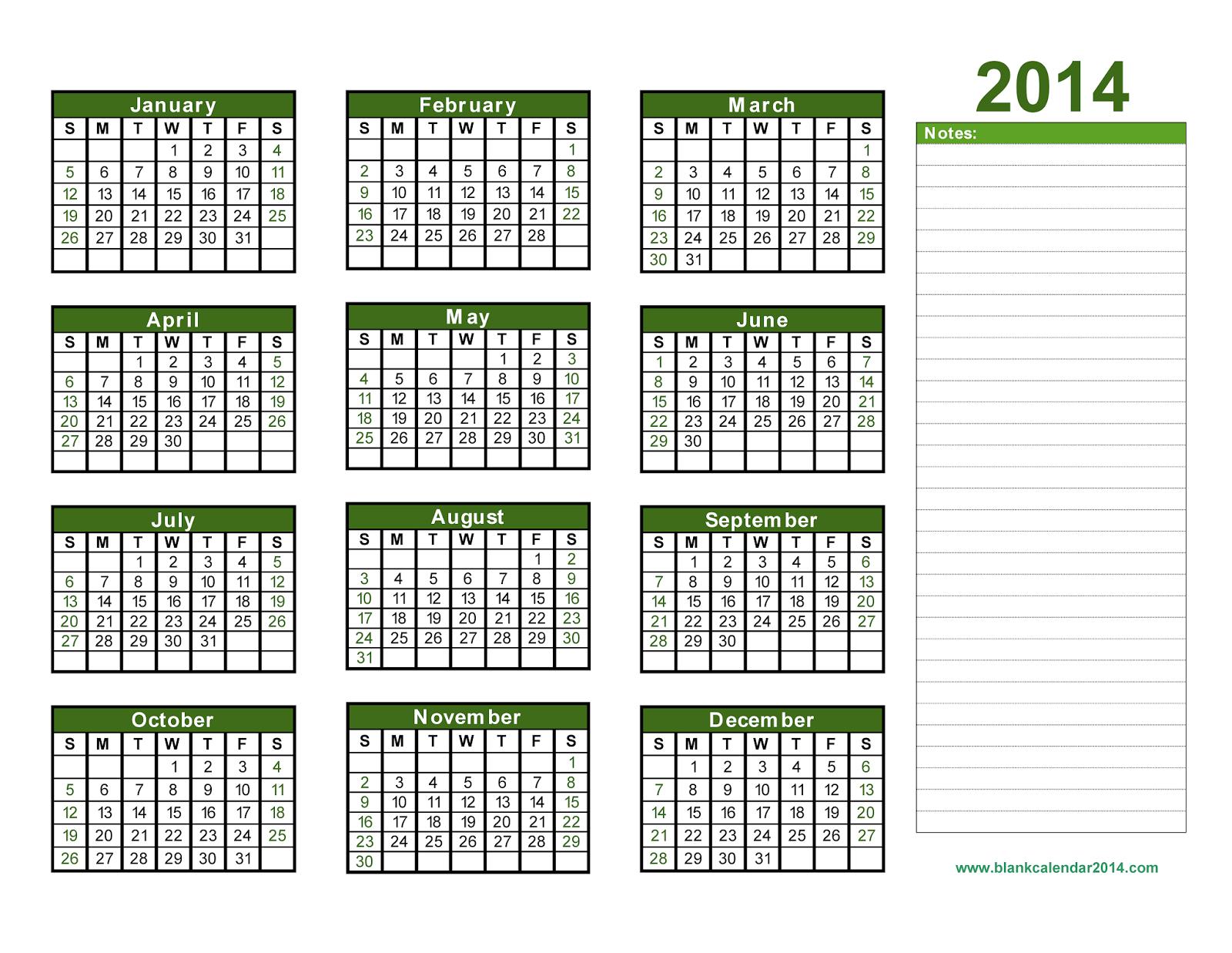 Printable Calendar 2014, Blank Calendar 2014, Download intended for Blank Calendar 2014